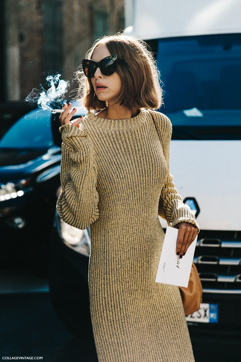 MFW-Milan_Fashion_Week-Spring_Summer_2016-Street_Style-Say_Cheese-Candela_Novembre-Knitted_Dress-Golden_Shoes-1-790x1185