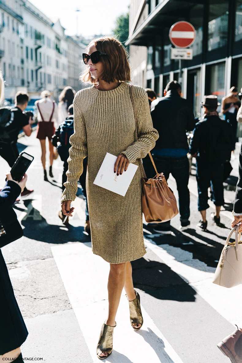 MFW-Milan_Fashion_Week-Spring_Summer_2016-Street_Style-Say_Cheese-Candela_Novembre-Knitted_Dress-Golden_Shoes--790x1185