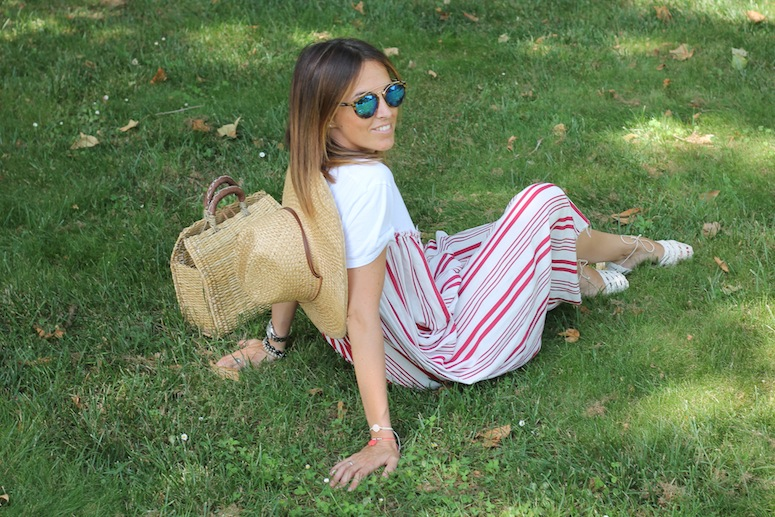 Straw bag and stripped dress www.lostinvogue.com 10