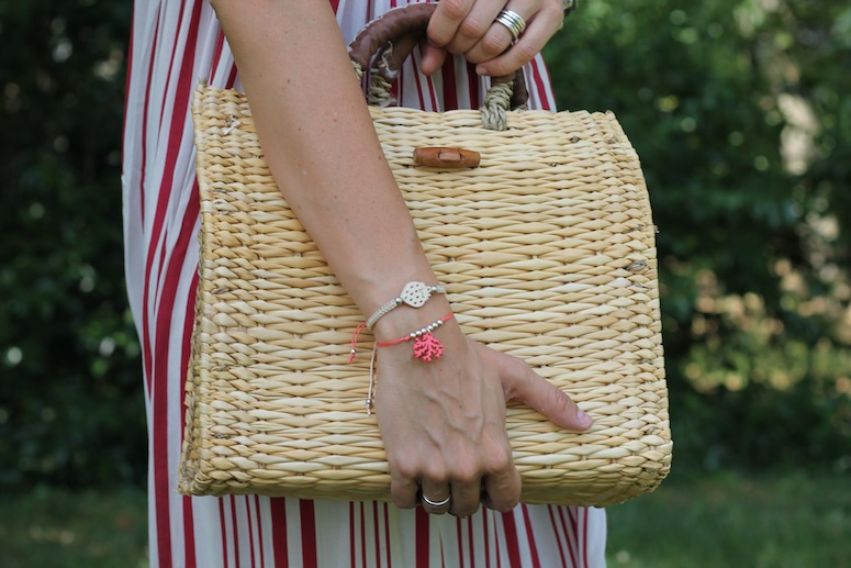 Straw bag and stripped dress www.lostinvogue.com 4