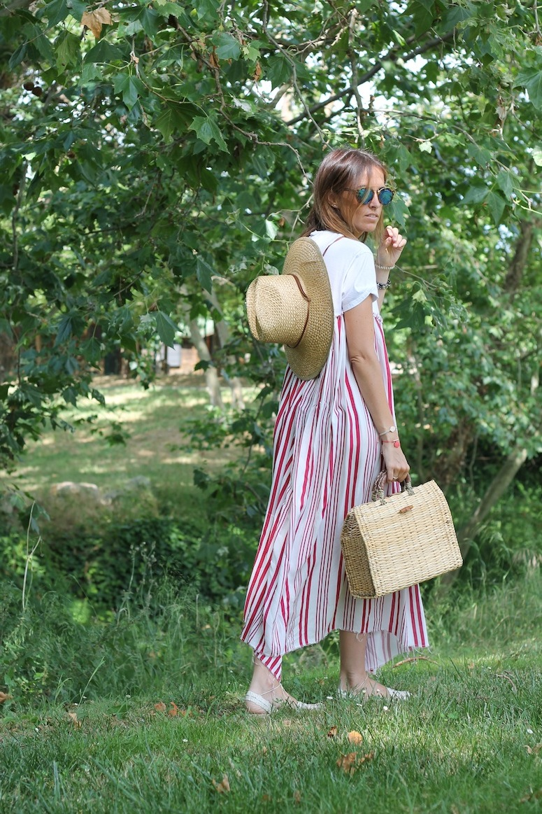 Straw bag and stripped dress www.lostinvogue.com 7